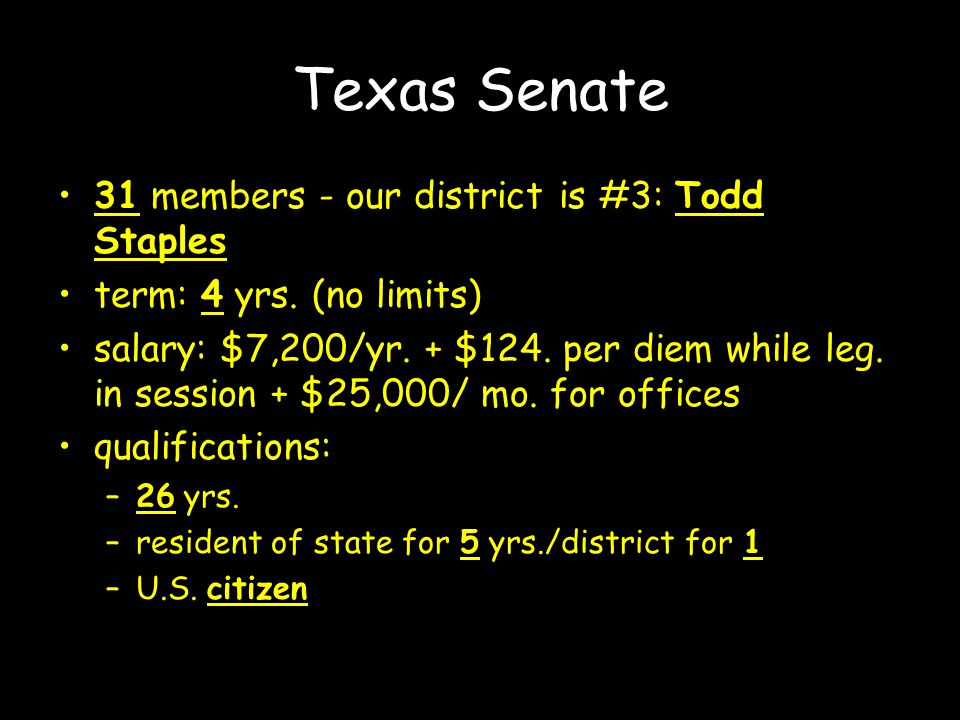 Texas Senate 31 members - our district is #3: Todd Staples term: 4 yrs.