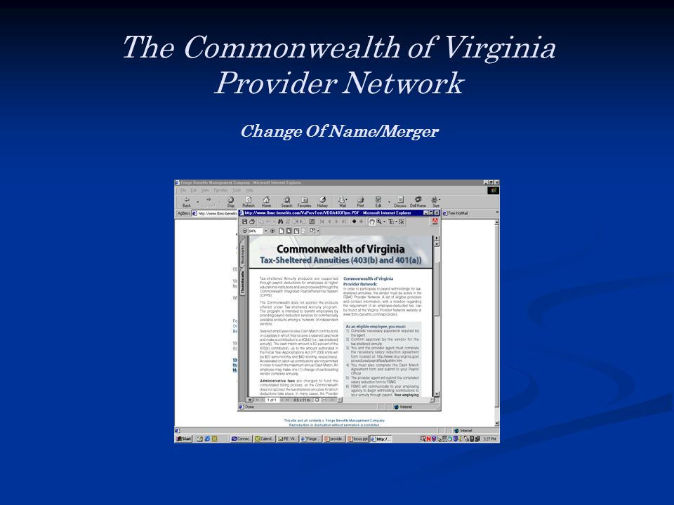 The Commonwealth of Virginia Provider Network Change Of Name/Merger