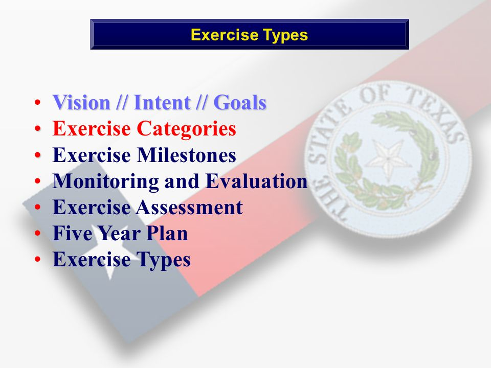 Vision // Intent // Goals Exercise Categories Exercise Milestones Monitoring and Evaluation Exercise Assessment Five Year Plan Exercise Types