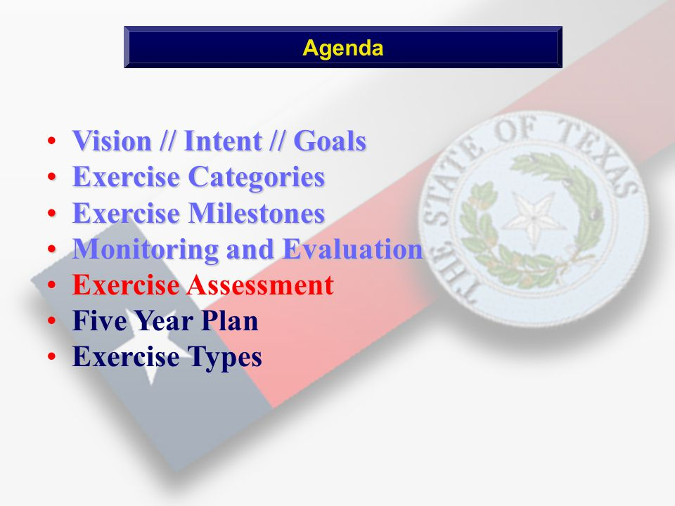 Vision // Intent // Goals Exercise Categories Exercise Categories Exercise Milestones Exercise Milestones Monitoring and Evaluation Monitoring and Evaluation Exercise Assessment Five Year Plan Exercise Types Agenda