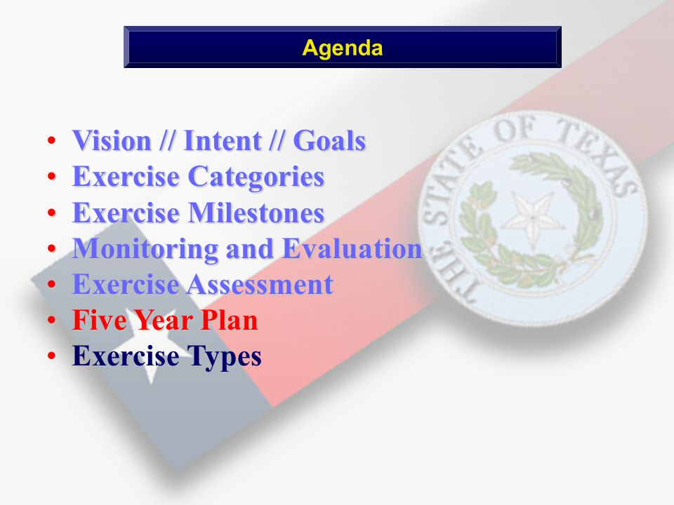 Vision // Intent // Goals Exercise Categories Exercise Categories Exercise Milestones Exercise Milestones Monitoring and Evaluation Monitoring and Evaluation Exercise Assessment Exercise Assessment Five Year Plan Five Year Plan Exercise Types Agenda