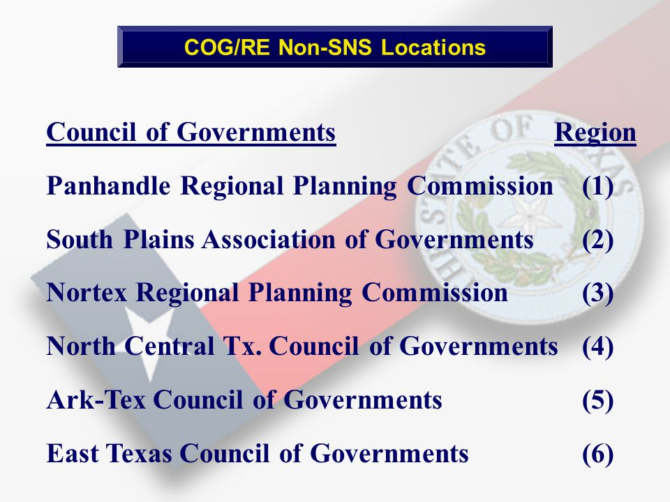 COG/RE Non-SNS Locations Council of Governments Region Panhandle Regional Planning Commission (1) South Plains Association of Governments(2) Nortex Regional Planning Commission (3) North Central Tx.