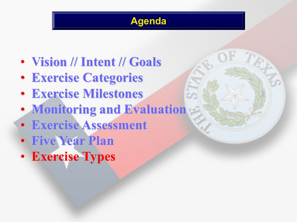 ision // Intent // Goals Vision // Intent // Goals Exercise Categories Exercise Categories Exercise Milestones Exercise Milestones Monitoring and Evaluation Monitoring and Evaluation Exercise Assessment Exercise Assessment Five Year Plan Five Year Plan Exercise Types Agenda