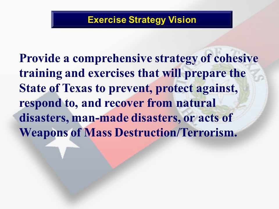 Provide a comprehensive strategy of cohesive training and exercises that will prepare the State of Texas to prevent, protect against, respond to, and recover from natural disasters, man-made disasters, or acts of Weapons of Mass Destruction/Terrorism.