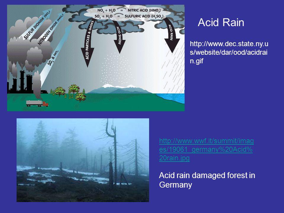 Acid Rain http://www.dec.state.ny.u s/website/dar/ood/acidrai n.gif http://www.wwf.it/summit/imag es/19061_germany%20Acid% 20rain.jpg Acid rain damaged forest in Germany