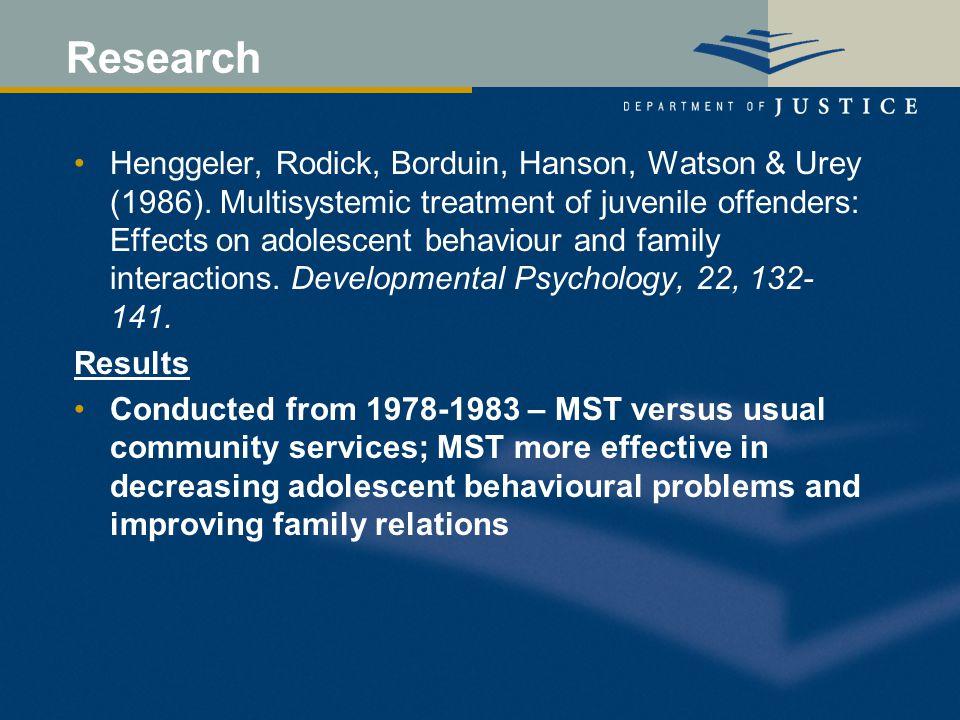 Research Henggeler, Rodick, Borduin, Hanson, Watson & Urey (1986).