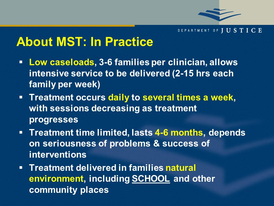 About MST: In Practice  Low caseloads, 3-6 families per clinician, allows intensive service to be delivered (2-15 hrs each family per week)  Treatment occurs daily to several times a week, with sessions decreasing as treatment progresses  Treatment time limited, lasts 4-6 months, depends on seriousness of problems & success of interventions  Treatment delivered in families natural environment, including SCHOOL and other community places