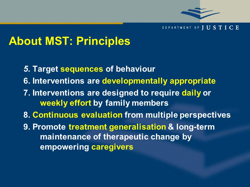 About MST: Principles 5. Target sequences of behaviour 6.