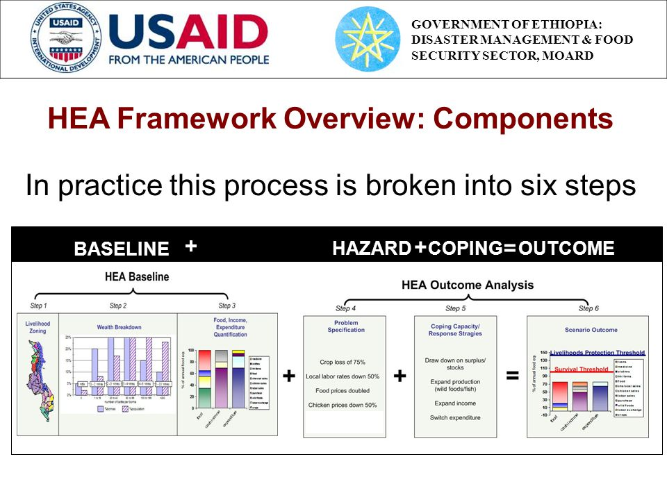 BASELINE HAZARD + COPING OUTCOME + = HEA Framework Overview: Components In practice this process is broken into six steps GOVERNMENT OF ETHIOPIA: DISA