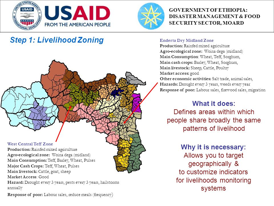 Step 1: Livelihood Zoning Why it is necessary: Allows you to target geographically & to customize indicators for livelihoods monitoring systems Enderta Dry Midland Zone Production: Rainfed mixed agriculture Agro-ecological zone: Woina dega (midland) Main Consumption: Wheat, Teff, Sorghum, Main cash crops: Barley, Wheat, Sorghum, Main livestock: Sheep, Cattle, Poultry Market access: good Other economic activities: Salt trade, animal sales, Hazards: Drought every 3 years, weeds every year Response of poor: Labour sales, firewood sales, migration West Central Teff Zone Production: Rainfed mixed agriculture Agro-ecological zone: Woina dega (midland) Main Consumption: Teff, Barley, Wheat, Pulses Major Cash Crops: Teff, Wheat, Pulses Main livestock: Cattle, goat, sheep Market Access: Good Hazard: Drought every 3 years, pests every 3 years, hailstorms annually Response of poor: Labour sales, reduce meals (frequency ) What it does: Defines areas within which people share broadly the same patterns of livelihood GOVERNMENT OF ETHIOPIA: DISASTER MANAGEMENT & FOOD SECURITY SECTOR, MOARD