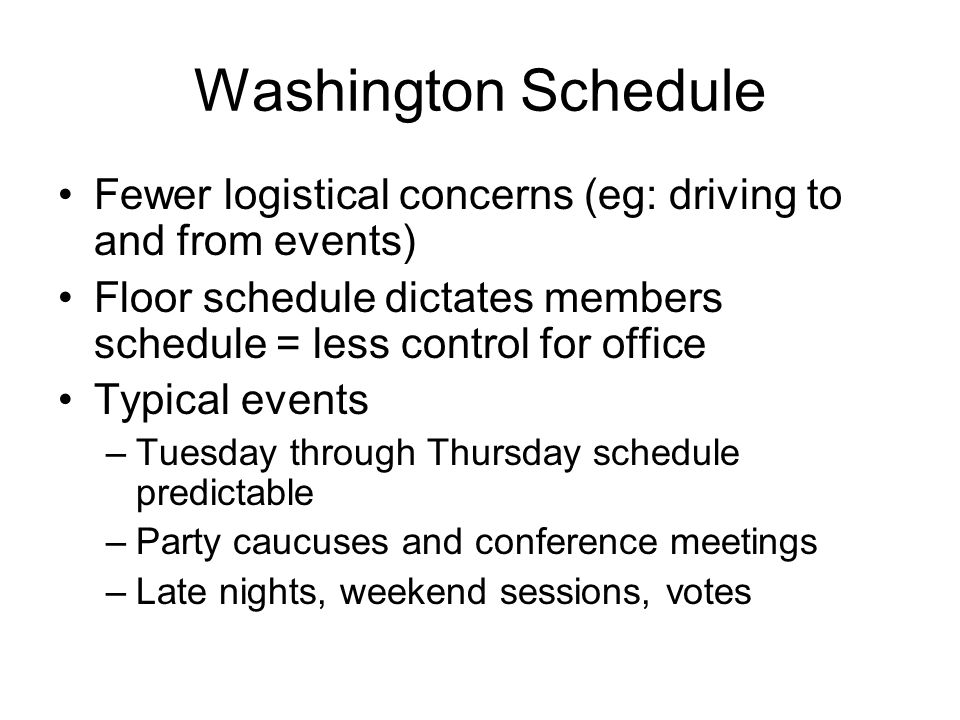 Common Problems Excessive travel time because of district shape/size Overscheduling Missing events in the district because of an erratic Congressional schedule Member unwilling to commit or slow to make decisions Member over-involvement in scheduling Member's family demands time Scheduler problems: can't judge importance, inadequate coordination between offices Scheduler provides inaccurate information Scheduler does not obtain complete information