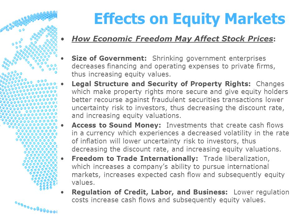 Effects on Equity Markets How Economic Freedom May Affect Stock Prices : Size of Government: Shrinking government enterprises decreases financing and operating expenses to private firms, thus increasing equity values.