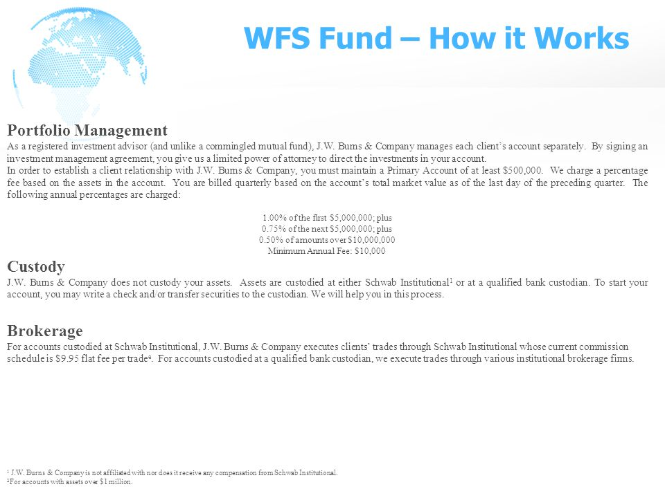 WFS Fund – How it Works Portfolio Management As a registered investment advisor (and unlike a commingled mutual fund), J.W.