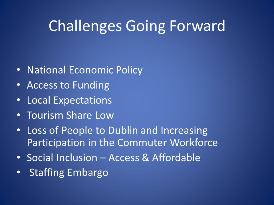 Challenges Going Forward National Economic Policy Access to Funding Local Expectations Tourism Share Low Loss of People to Dublin and Increasing Participation in the Commuter Workforce Social Inclusion – Access & Affordable Staffing Embargo