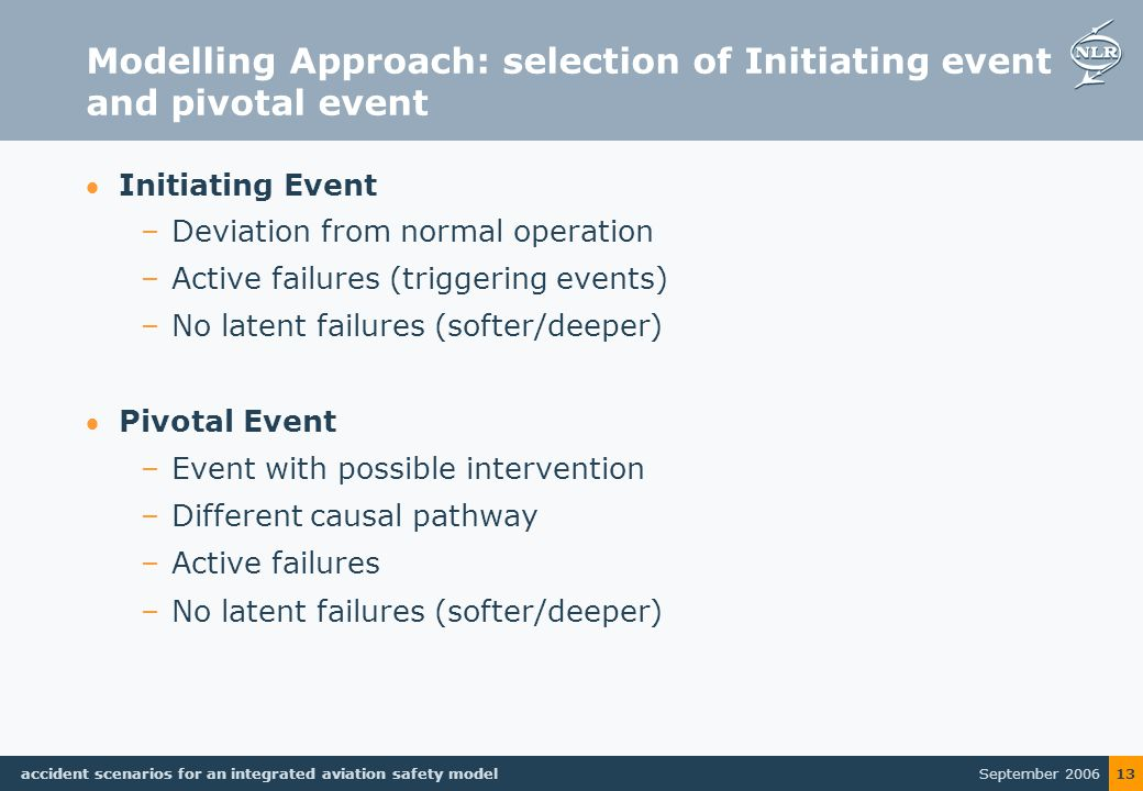 September 2006 accident scenarios for an integrated aviation safety model 13 Modelling Approach: selection of Initiating event and pivotal event Initiating Event –Deviation from normal operation –Active failures (triggering events) –No latent failures (softer/deeper) Pivotal Event –Event with possible intervention –Different causal pathway –Active failures –No latent failures (softer/deeper)