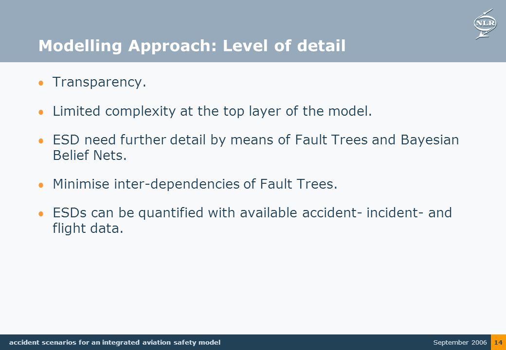 September 2006 accident scenarios for an integrated aviation safety model 14 Modelling Approach: Level of detail Transparency.