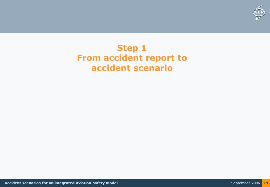 September 2006 accident scenarios for an integrated aviation safety model 19 Step 1 From accident report to accident scenario