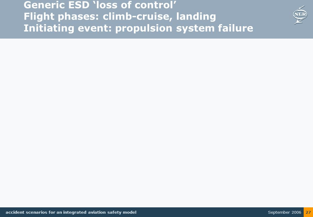 September 2006 accident scenarios for an integrated aviation safety model 27 Generic ESD 'loss of control' Flight phases: climb-cruise, landing Initiating event: propulsion system failure