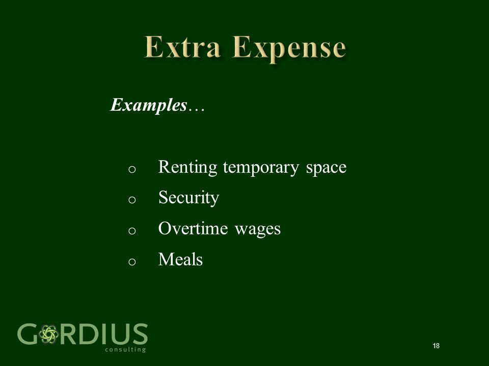 18 Examples… o Renting temporary space o Security o Overtime wages o Meals