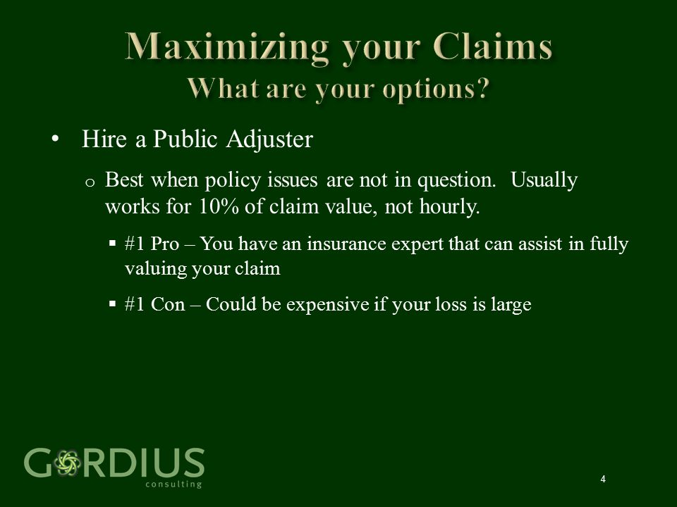 25 Not Like Liability Claims Initial Steps o Notify Carriers (followed by formal proof of loss) o Assess Coverage and determine if you need experts o Assess and Quantify Losses o Ask for advances.