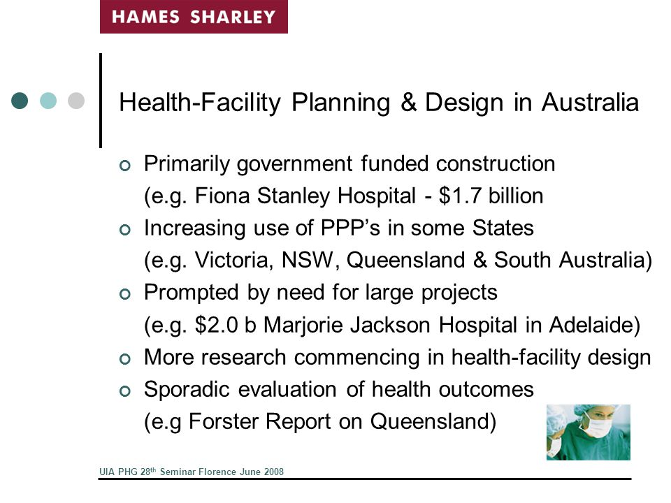 UIA PHG 28 th Seminar Florence June 2008 Health-Facility Planning & Design in Australia Primarily government funded construction (e.g.