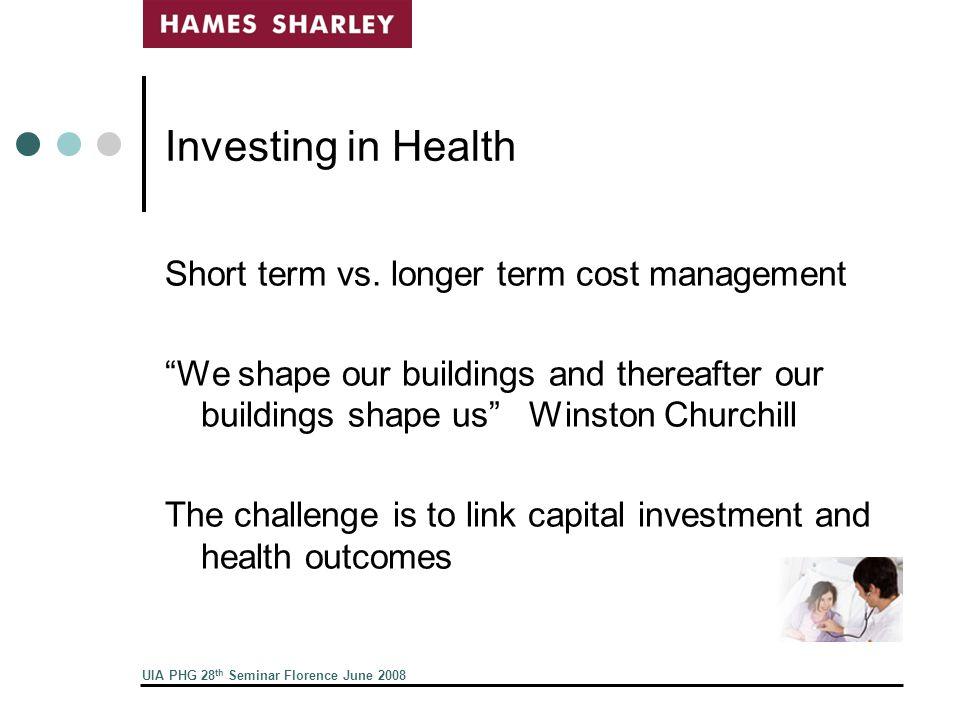 UIA PHG 28 th Seminar Florence June 2008 Investing in Health Short term vs.