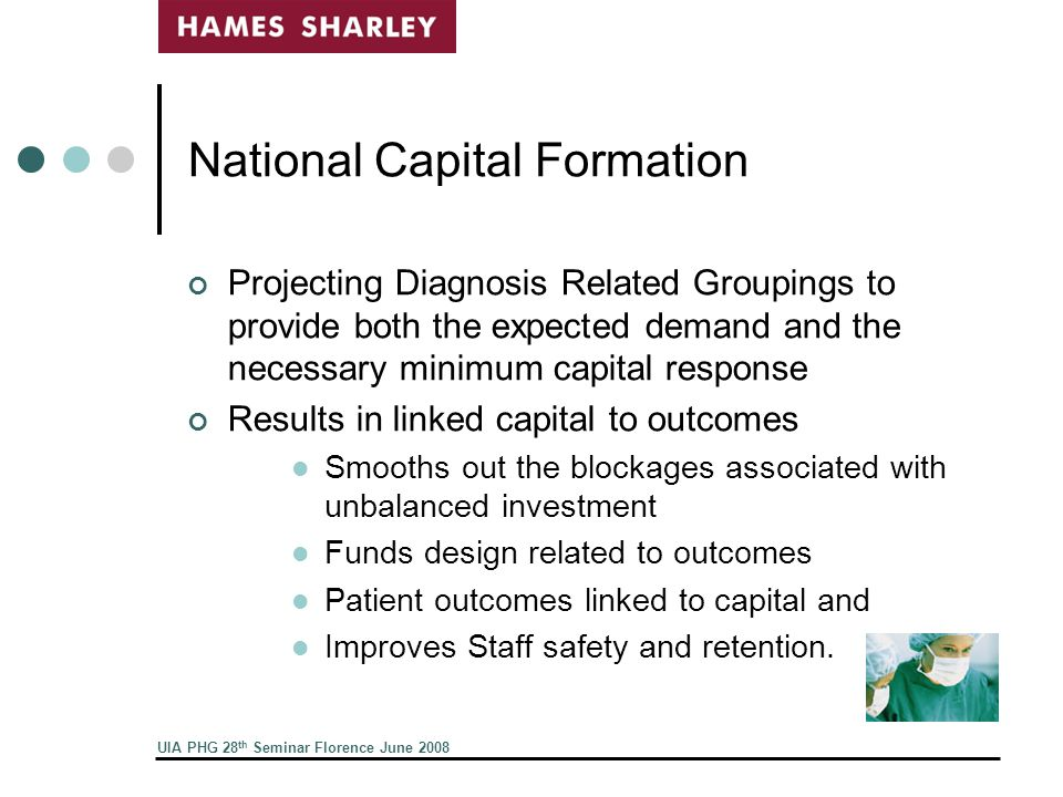 UIA PHG 28 th Seminar Florence June 2008 National Capital Formation Projecting Diagnosis Related Groupings to provide both the expected demand and the necessary minimum capital response Results in linked capital to outcomes Smooths out the blockages associated with unbalanced investment Funds design related to outcomes Patient outcomes linked to capital and Improves Staff safety and retention.