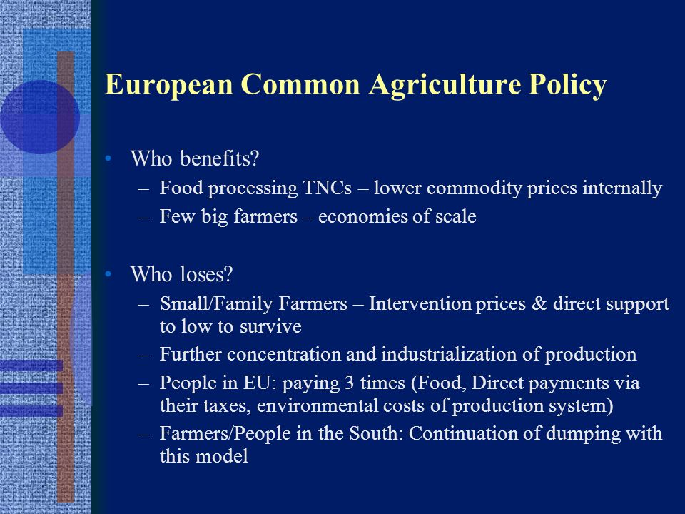 European Common Agriculture Policy Who benefits.