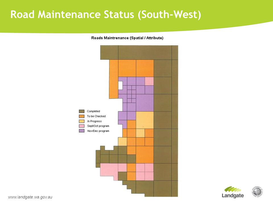 Road Maintenance Status (South-West) www.landgate.wa.gov.au