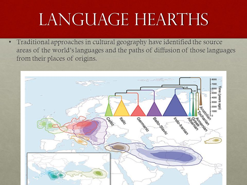 Language Hearths Traditional approaches in cultural geography have identified the source areas of the world's languages and the paths of diffusion of those languages from their places of origins.Traditional approaches in cultural geography have identified the source areas of the world's languages and the paths of diffusion of those languages from their places of origins.
