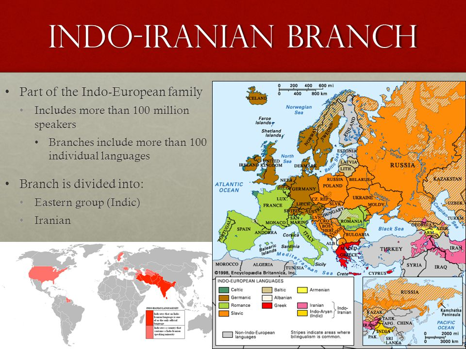Indo-Iranian Branch Part of the Indo-European familyPart of the Indo-European family Includes more than 100 million speakersIncludes more than 100 million speakers Branches include more than 100 individual languagesBranches include more than 100 individual languages Branch is divided into:Branch is divided into: Eastern group (Indic)Eastern group (Indic) IranianIranian