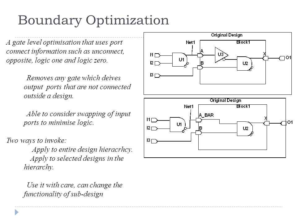 Boundary Optimization A gate level optimisation that uses port connect information such as unconnect, opposite, logic one and logic zero.