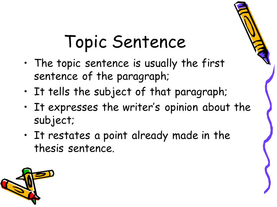 Topic Sentence The topic sentence is usually the first sentence of the paragraph; It tells the subject of that paragraph; It expresses the writer's op
