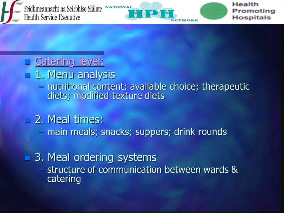 n Catering level: n 1. Menu analysis –nutritional content; available choice; therapeutic diets; modified texture diets n 2. Meal times: –main meals; s