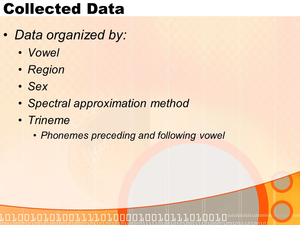 Collected Data Data organized by: Vowel Region Sex Spectral approximation method Trineme Phonemes preceding and following vowel