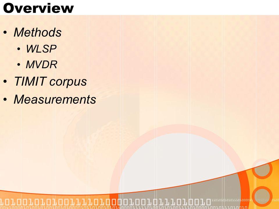 Overview Methods WLSP MVDR TIMIT corpus Measurements