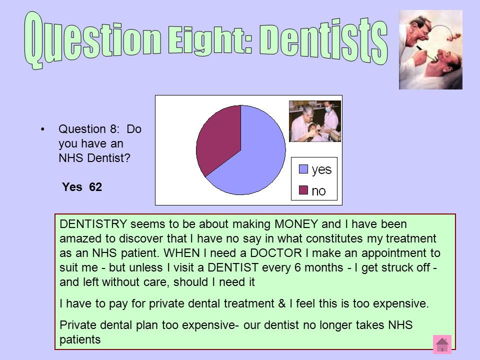 Question 8: Do you have an NHS Dentist.