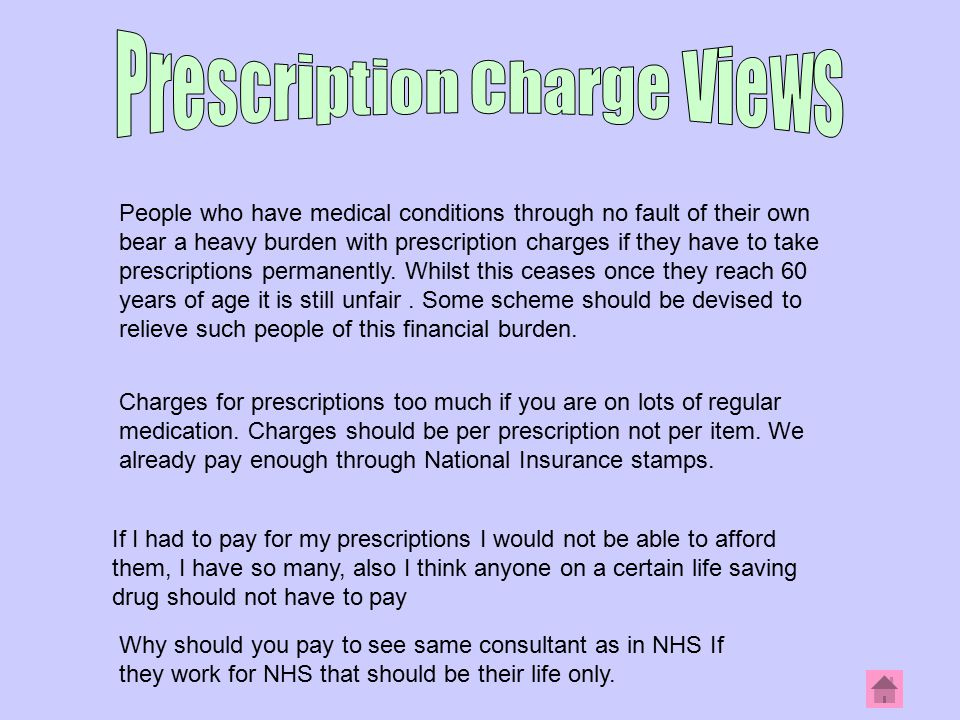 People who have medical conditions through no fault of their own bear a heavy burden with prescription charges if they have to take prescriptions permanently.