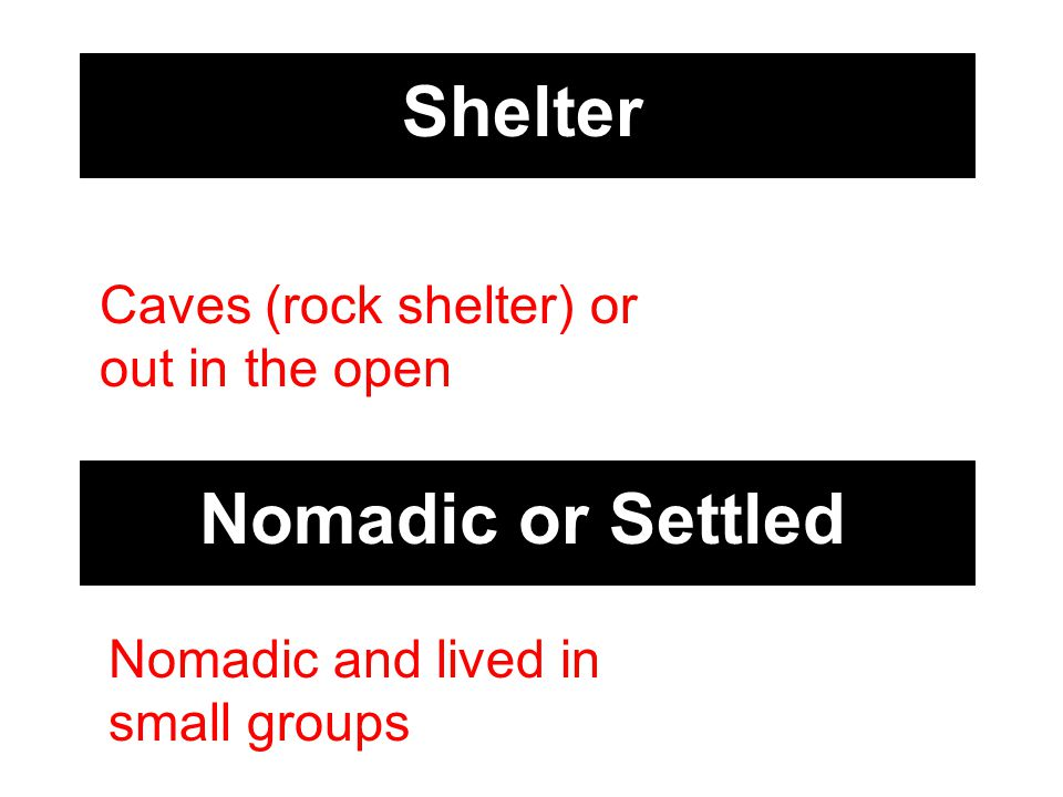 Shelter Caves (rock shelter) or out in the open Nomadic or Settled Nomadic and lived in small groups
