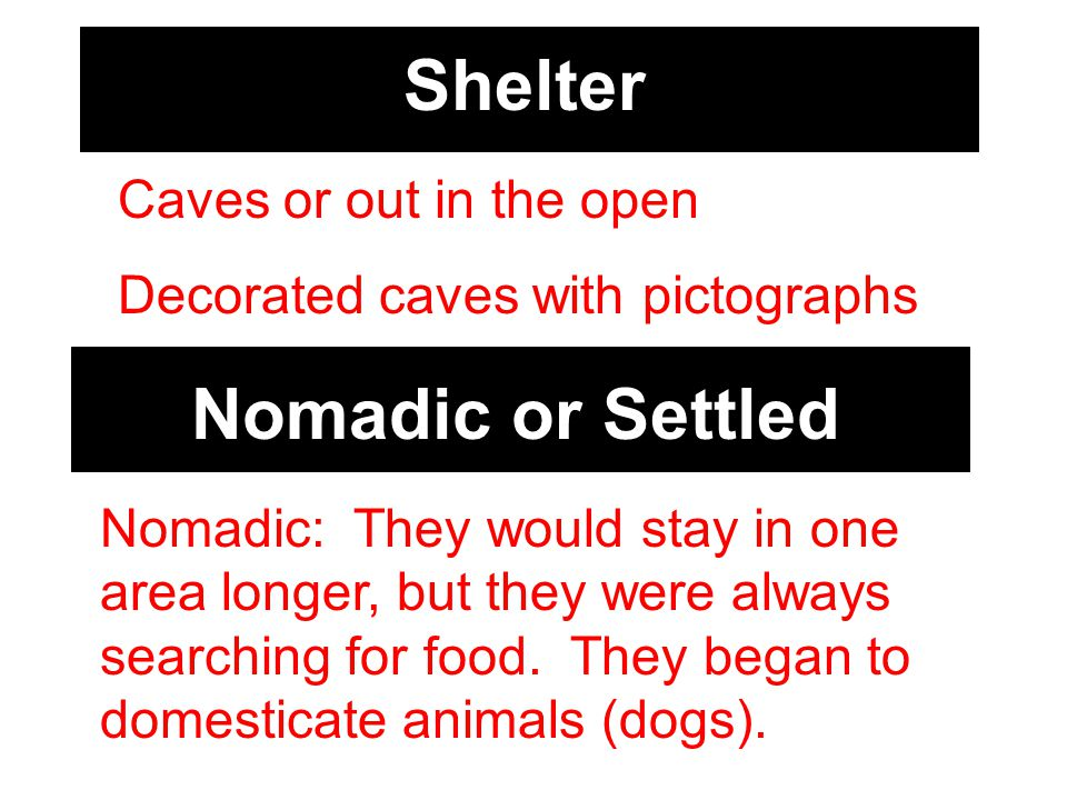 Shelter Caves or out in the open Decorated caves with pictographs Nomadic or Settled Nomadic: They would stay in one area longer, but they were always searching for food.
