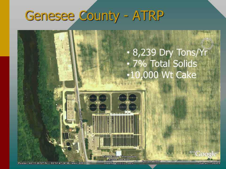 Genesee County - ATRP 8,239 Dry Tons/Yr 7% Total Solids 10,000 Wt Cake