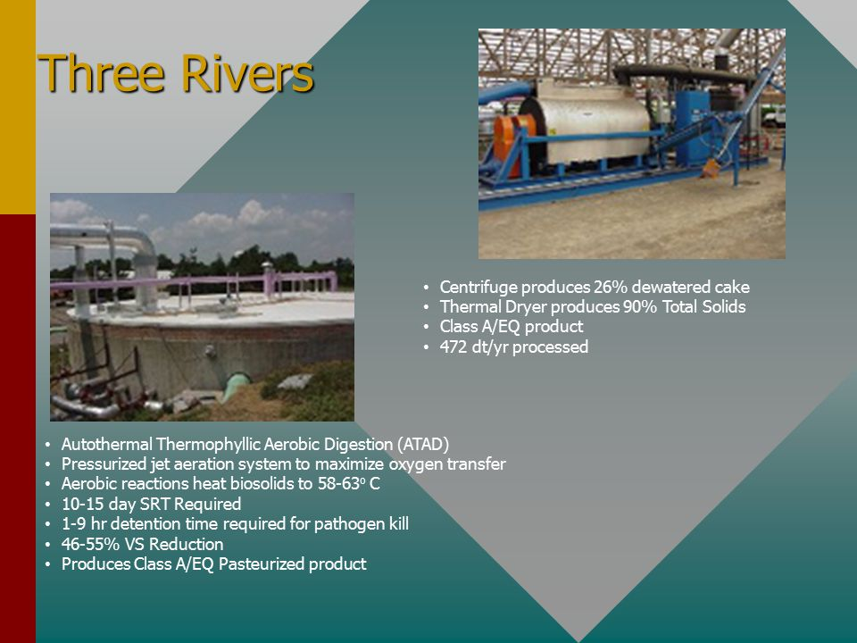 Three Rivers Centrifuge produces 26% dewatered cake Thermal Dryer produces 90% Total Solids Class A/EQ product 472 dt/yr processed Autothermal Thermophyllic Aerobic Digestion (ATAD) Pressurized jet aeration system to maximize oxygen transfer Aerobic reactions heat biosolids to 58-63 o C 10-15 day SRT Required 1-9 hr detention time required for pathogen kill 46-55% VS Reduction Produces Class A/EQ Pasteurized product