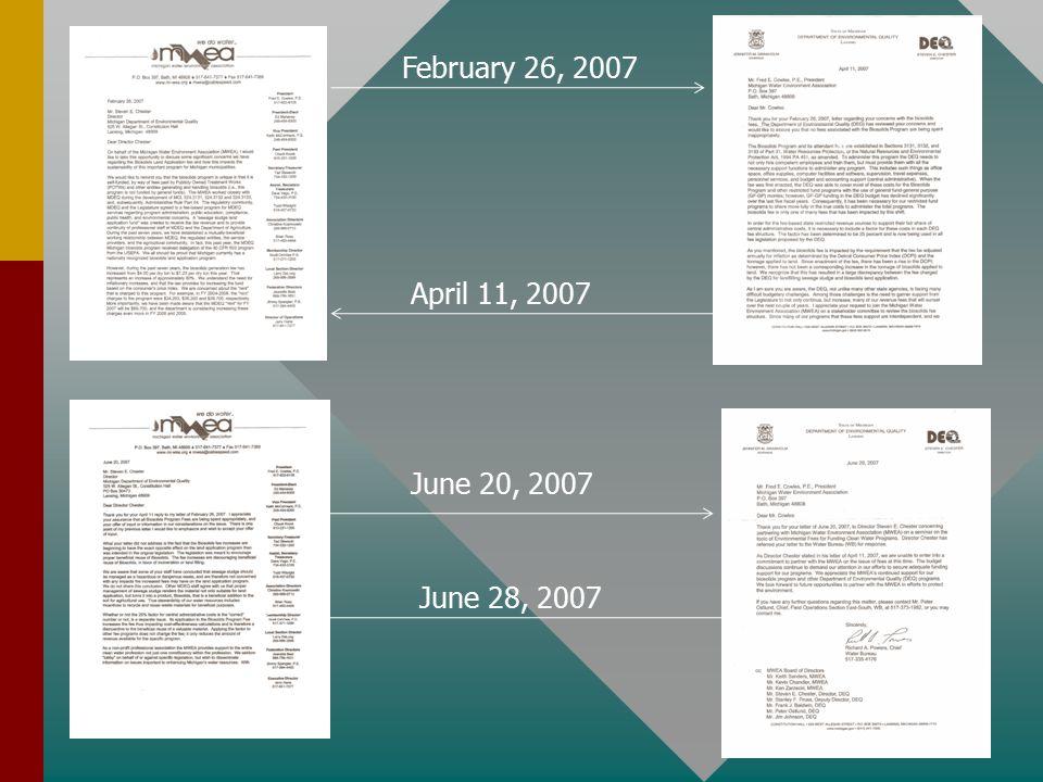 February 26, 2007 April 11, 2007 June 20, 2007 June 28, 2007