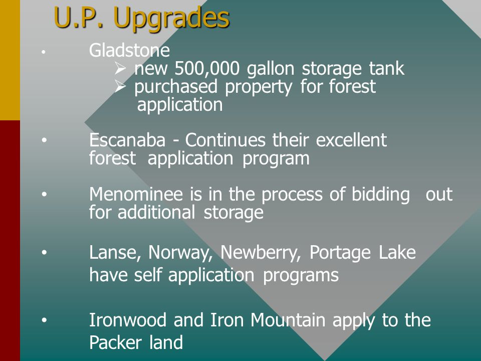 U.P. Upgrades Gladstone  new 500,000 gallon storage tank  purchased property for forest application Escanaba - Continues their excellent forest appl