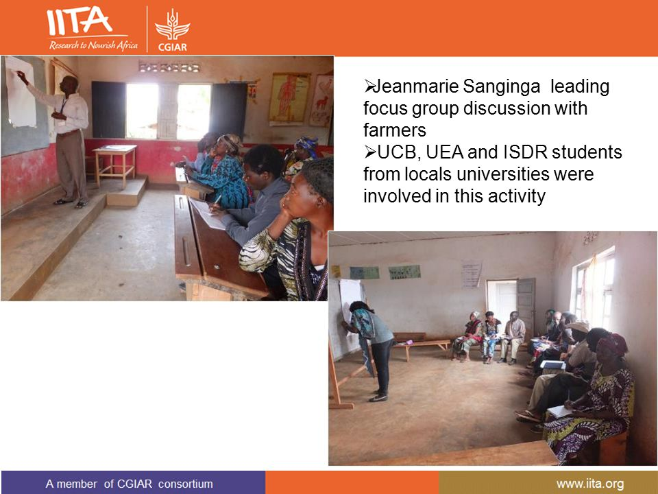  Jeanmarie Sanginga leading focus group discussion with farmers  UCB, UEA and ISDR students from locals universities were involved in this activity