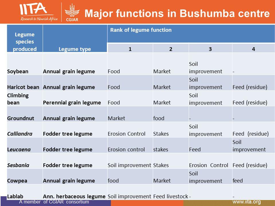 Major functions in Bushumba centre Legume species producedLegume type Rank of legume function 1234 SoybeanAnnual grain legumeFoodMarket Soil improvement- Haricot beanAnnual grain legumeFoodMarket Soil improvementFeed (residue) Climbing beanPerennial grain legumeFoodMarket Soil improvementFeed (residue) GroundnutAnnual grain legumeMarketfood-- CalliandraFodder tree legumeErosion ControlStakes Soil improvementFeed (residue) LeucaenaFodder tree legumeErosion controlstakesFeed Soil improvement SesbaniaFodder tree legumeSoil improvementStakesErosion ControlFeed (residue) CowpeaAnnual grain legumefoodMarket Soil improvementfeed LablabAnn.