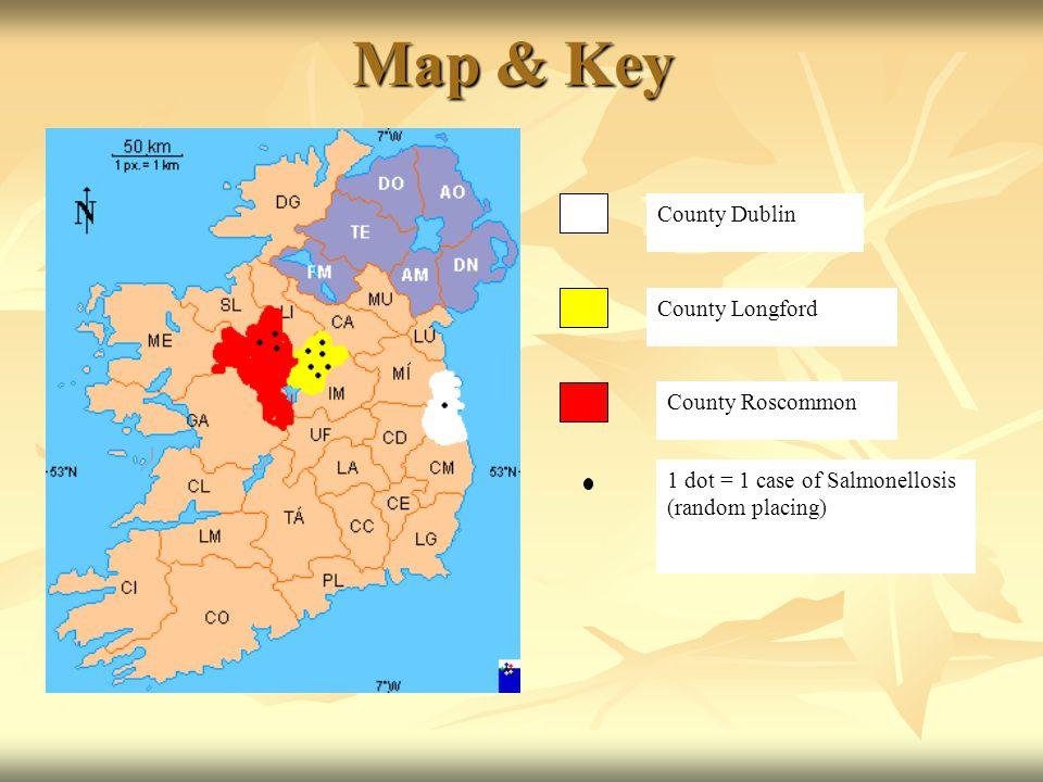 Map & Key County Dublin County Longford County Roscommon 1 dot = 1 case of Salmonellosis (random placing)