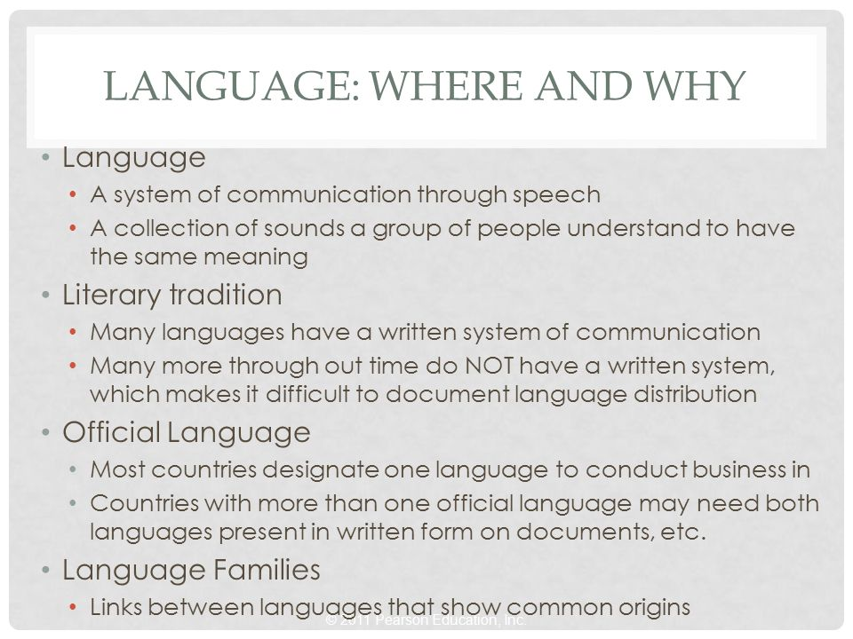 © 2011 Pearson Education, Inc. LANGUAGE: WHERE AND WHY Language A system of communication through speech A collection of sounds a group of people unde