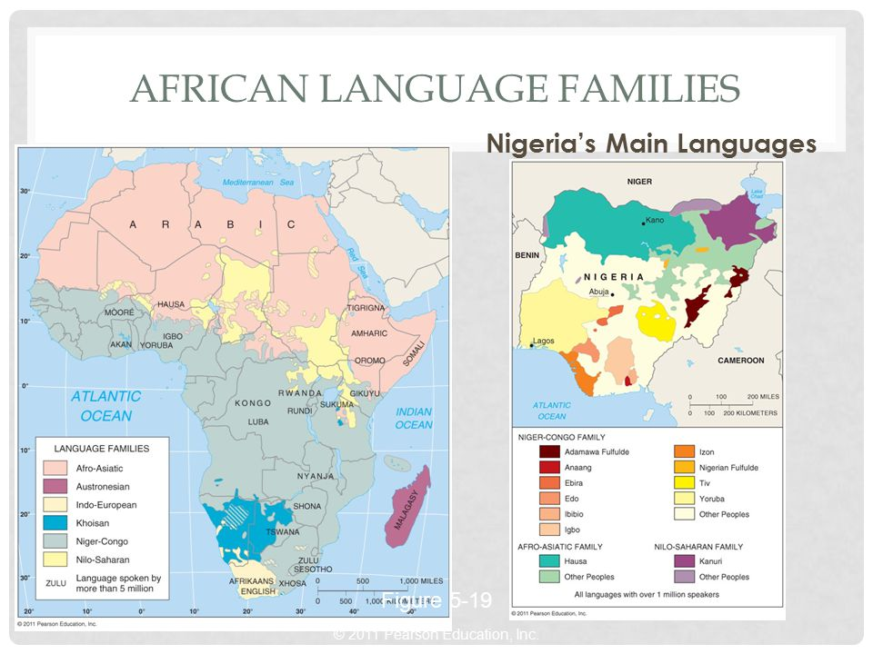 © 2011 Pearson Education, Inc. AFRICAN LANGUAGE FAMILIES Nigeria's Main Languages Figure 5-19
