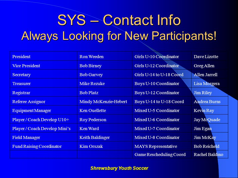 Shrewsbury Youth Soccer WEBSITE Check out our new WEBSITE www.shrewsburyyouthsoccer.com Bylaws, contacts, calendar, fields, FAQ's, Coach's information – rules, training sessions, code of conduct, volunteers